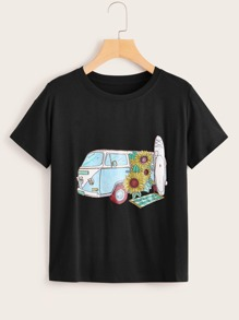 Cartoon Car & Floral Print Tee