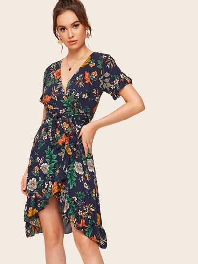 738c40dd83 Floral Print Ruffle Hem Belted Wrap Dress   SHEIN