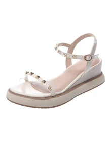 Studded Decor Open Toe Wedge Sandals