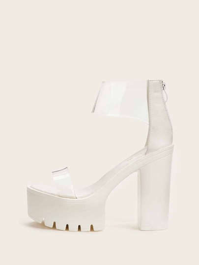Clear Strap Platform Chunky Heels