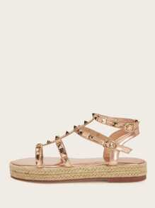 Studded Decor Buckle Strap Espadrille Sandals