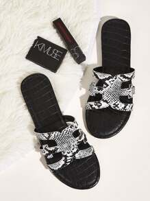 Snakeskin Print Cut Out Sliders