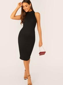 Solid Rib-knit Pencil Tank Dress