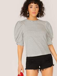 Twist Detail Puff Sleeve Striped Top