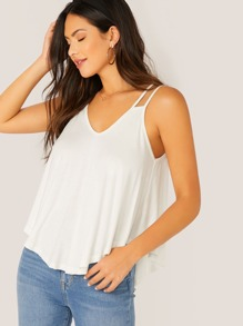 Strappy Detail High Low Flowy Top