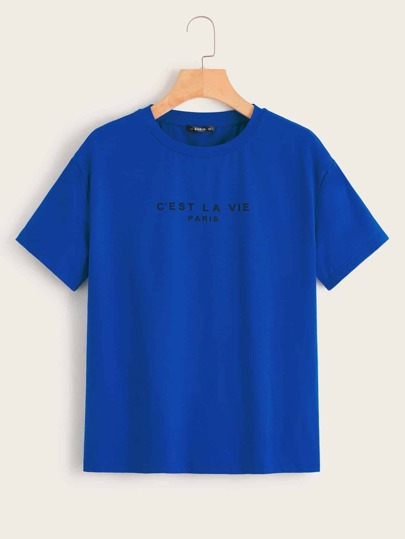 Drop Shoulder Slogan Graphic Top