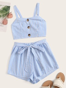 Striped Button Front Shirred Cami Top & Tie Waist Shorts Set