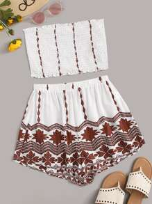 Tribal Print Frill Trim Shirred Tube Top & Shorts Set