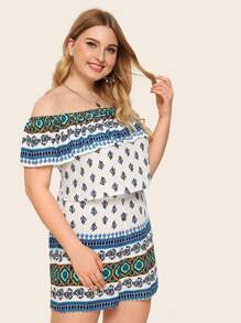 Plus Off Shoulder Ruffle Foldover Top & Tribal Shorts Set