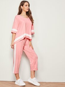 High Low Top and Contrast Sideseam Pants Set