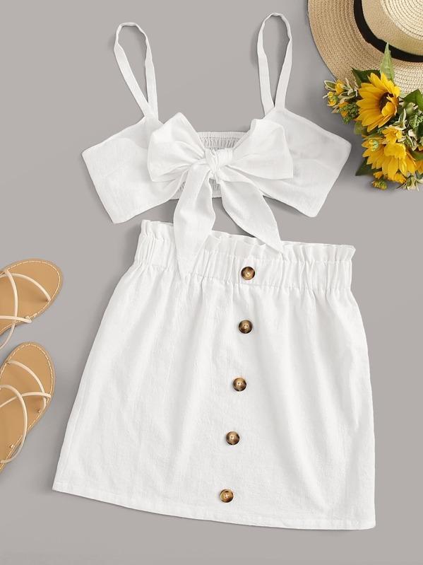 e8bddd7582 Tie Front Shirred Cami & Paperbag Waist Button Skirt Set   SHEIN