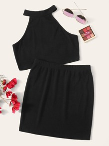 Solid Halter Top & Skirt Set