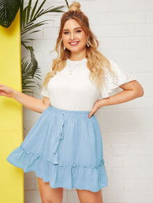 Plus Swiss Dot Frill Ruffle Hem Skirt