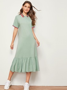 Contrast Striped Tape Button Front Ruffle Hem Dress