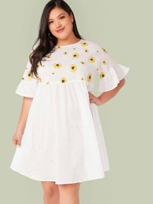 Plus Daisy Floral Print Smock Dress