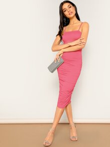 Solid Ruched Detail Bodycon Slip Dress
