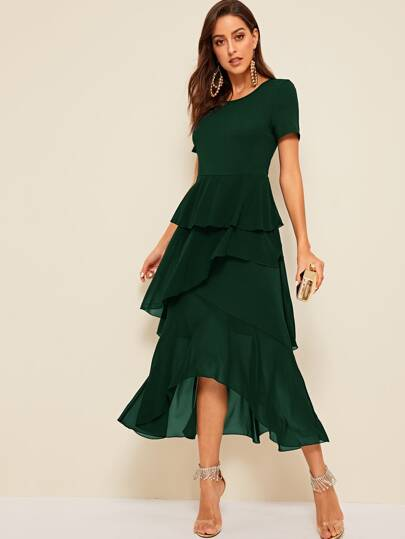 Solid Fit and Flare Layered Dip Hem Dress