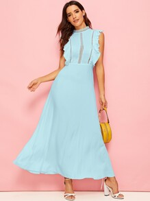 Lace Insert Ruffle Armhole Maxi Fit & Flare Dress