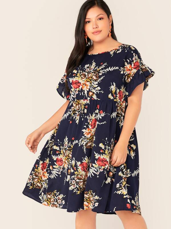 94fbd075c3 Plus Floral Print Flounce Sleeve Smock Dress | SHEIN UK