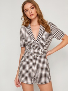 Notch Collar Double Breasted Gingham Print Belted Romper