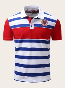 Men Striped Color Block Patched Polo Shirt