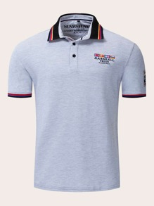 Men Contrast Striped Flag Embroidery Polo Shirt
