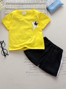 Toddler Boys Star Print Tee & Contrast Side Shorts