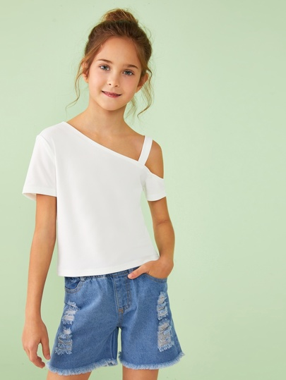 Girls Asymmetrical Neck Solid Top