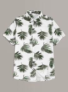 Men Jungle Leaf Print Shirt