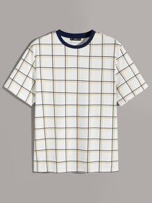 Men Plaid Print Tee