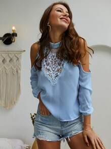 Mock Neck Cold Shoulder Contrast Lace Blouse
