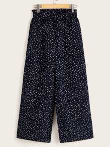Tie Waist Dot Print Wide Leg Pants