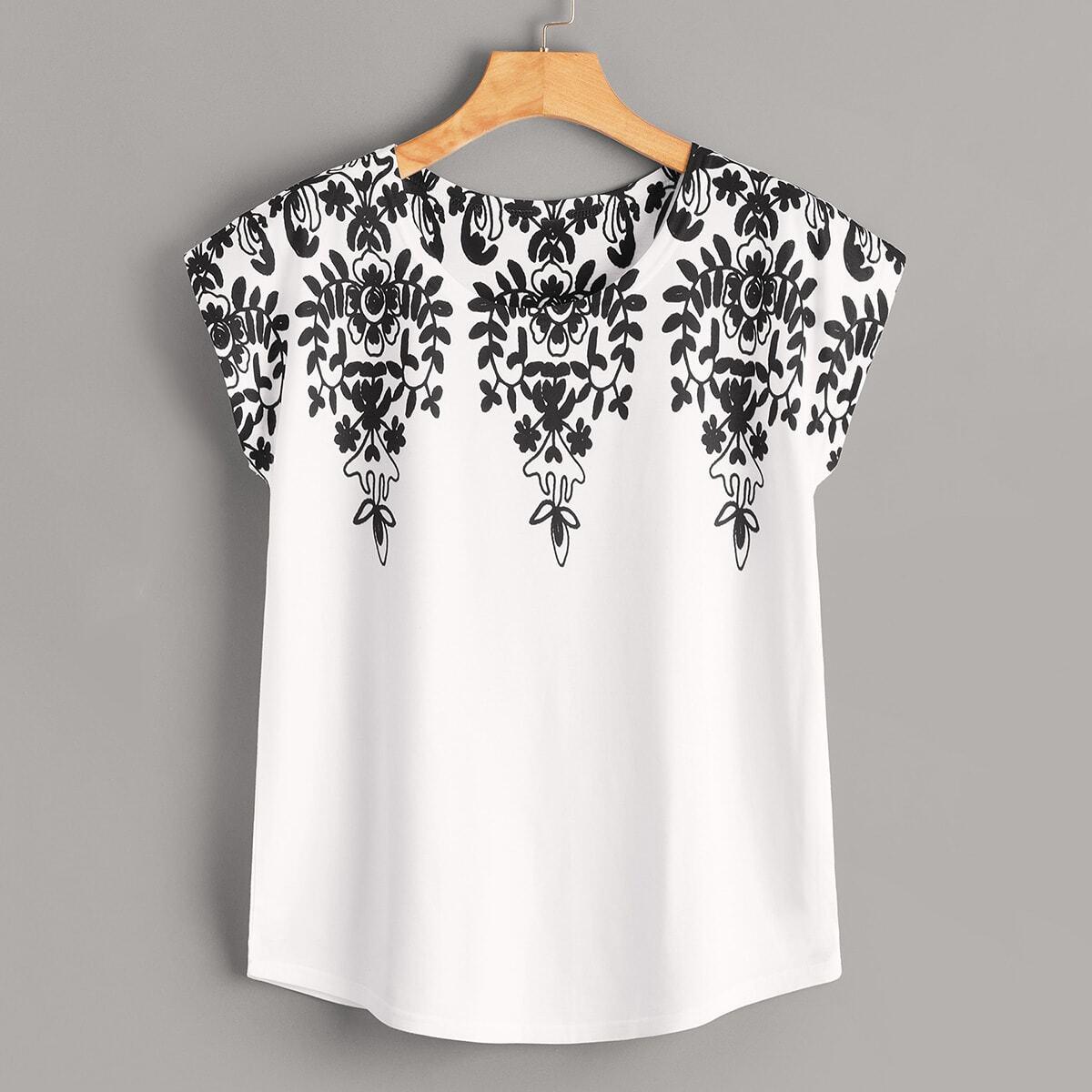 T-Shirt mit Pflnzen Muster