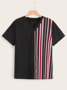 Plus V Neck Cut And Sew Striped Blouse