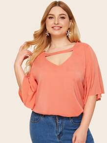 Plus Choker Neck Button Keyhole Blouse