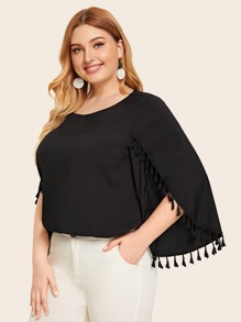 Plus Split Sleeve Fringe Trim Blouse