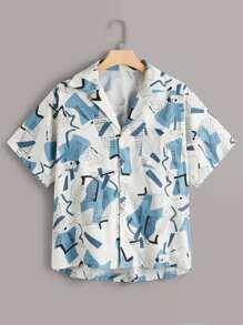 Plus Geometric Print Button Front Blouse
