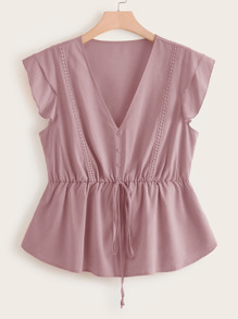 Plus V Neck Button Front Tie Front Peplum Blouse
