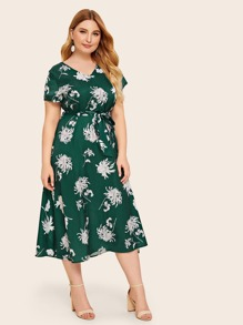 Plus V Neck Floral Print Belted Dress