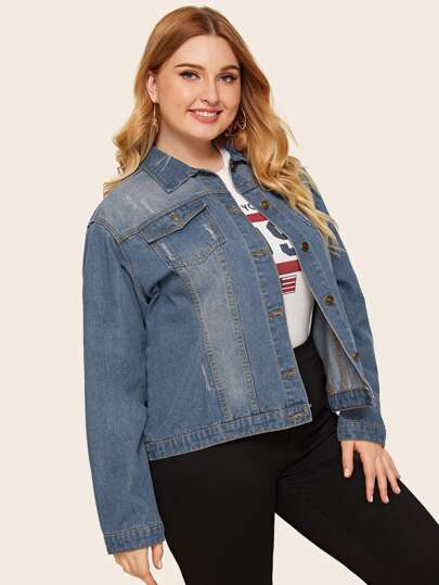 Plus Button Front Pocket Denim Jacket