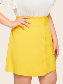 Plus Button Front Lettuce Frill Skirt