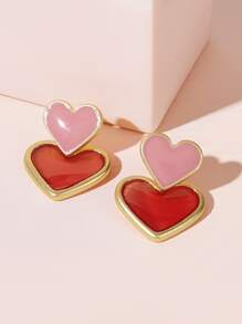 Two Tone Heart Shaped New Year Stud Earrings 1pair
