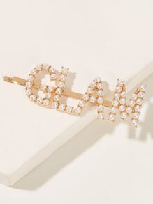 Faux Pearl Letter Design Hairpin 1pc