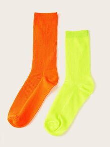 Solid Neon Color Socks 2pairs