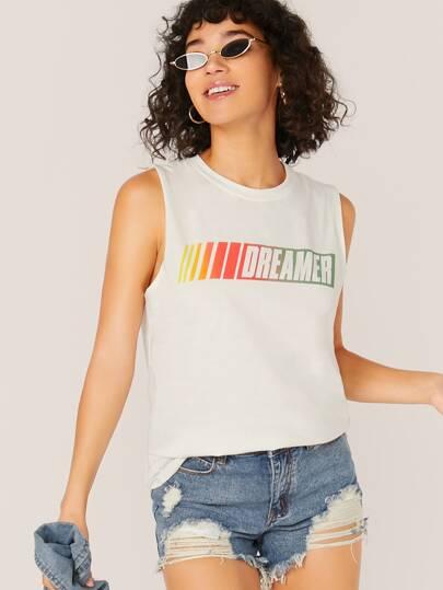 cf839ed7f82211 Jersey Knit Dreamer Graphic Tank Top
