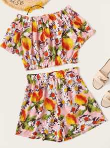 Plus Fruit Print Ruffle Trim Off Shoulder Top & Shorts Set