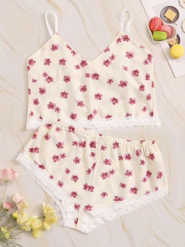 77d681ccb21f Floral Print Lace Trim Pajama Set | SHEIN