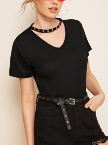 Studded Detail Choker Neck Tee