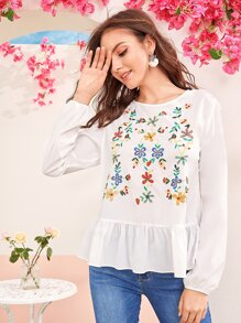 Embroidered Botanical Tie Back Ruffle Hem Top