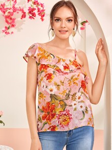 Floral Print Asymmetrical Neck Ruffle Trim Top